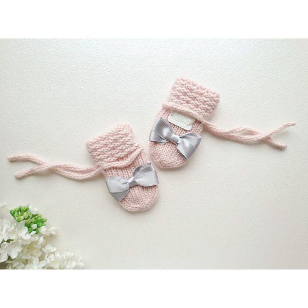 Heleroosad tüdrukute kootud talvekindad meriinovillase voodriga meriinovillased talvekindad hallide lipsudega käsitöökindad beebile
