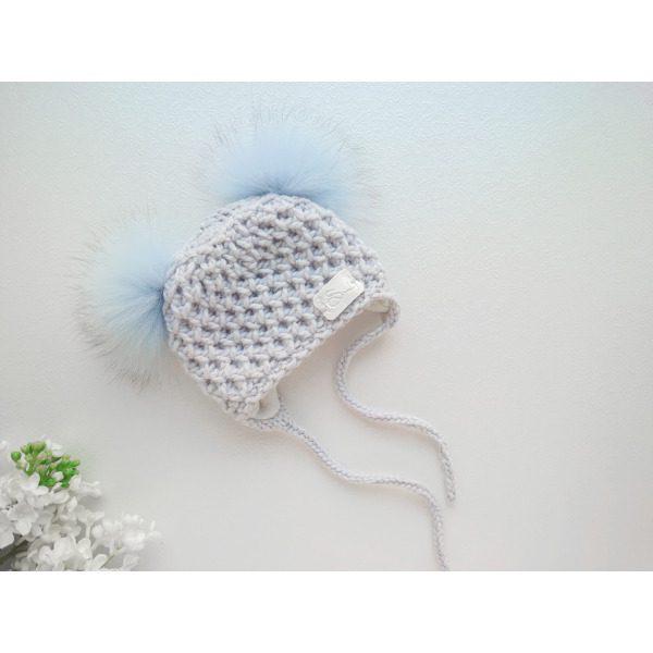 Poiste hall kootud talvemüts kahe tutiga tuttidega tutimüts beebimüts talveks käsitöömüts