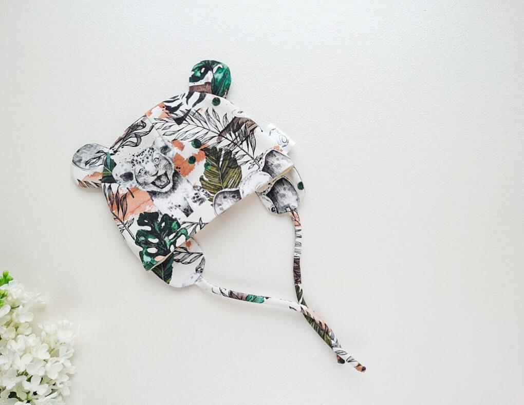 Poiste meriinovillane müts karu kõrvakestega käsitöömüts roheline