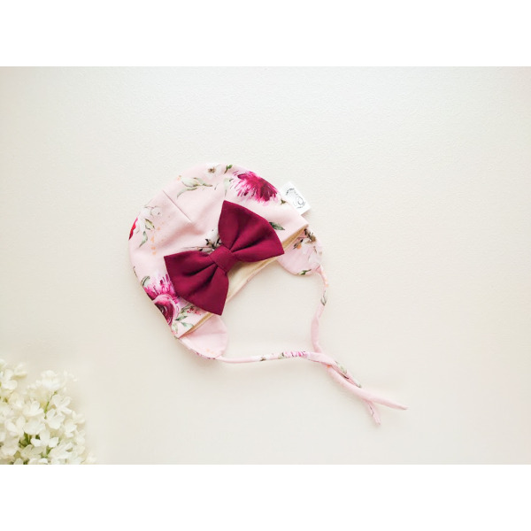 Meriinovillane tüdrukute müts suure lipsuga roosakirju lilledega kangas paeltega beebimüts sügiseks