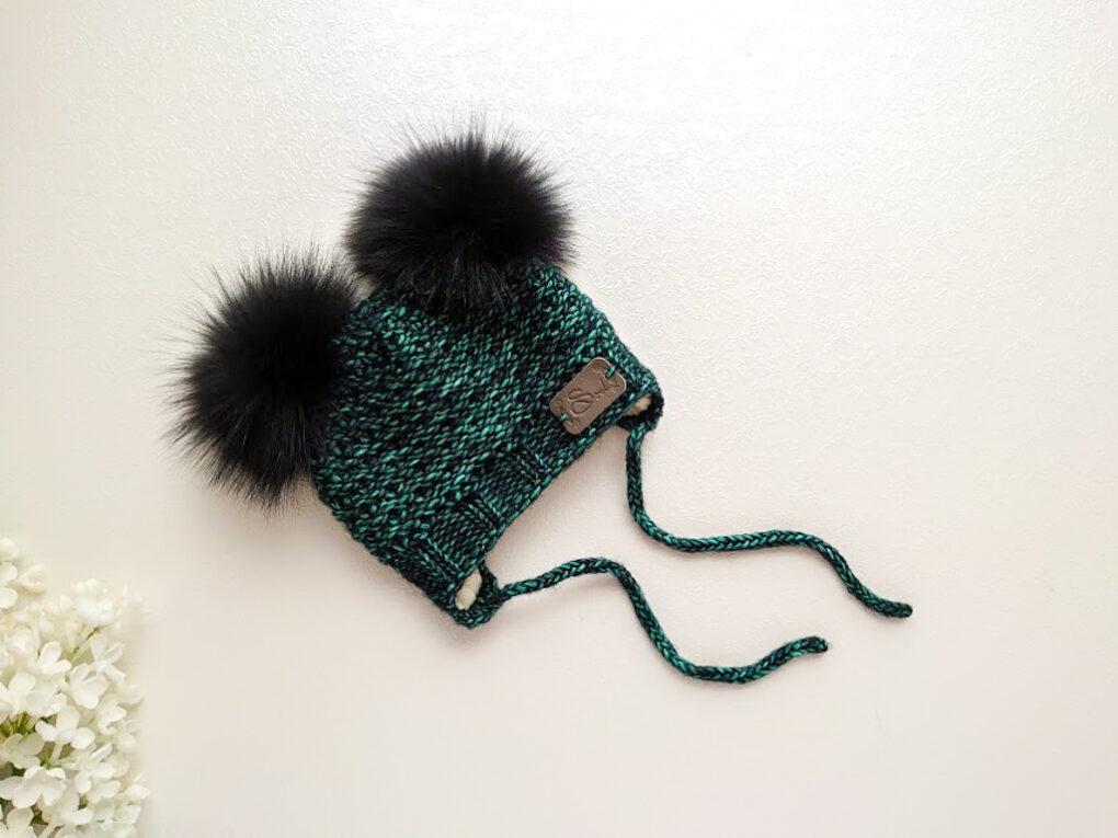 Tumeroheline emeraldroheline kootud talvemüts poistele beebimüts talveks merionivillane müts poisile kahe tutiga käsitöömüts