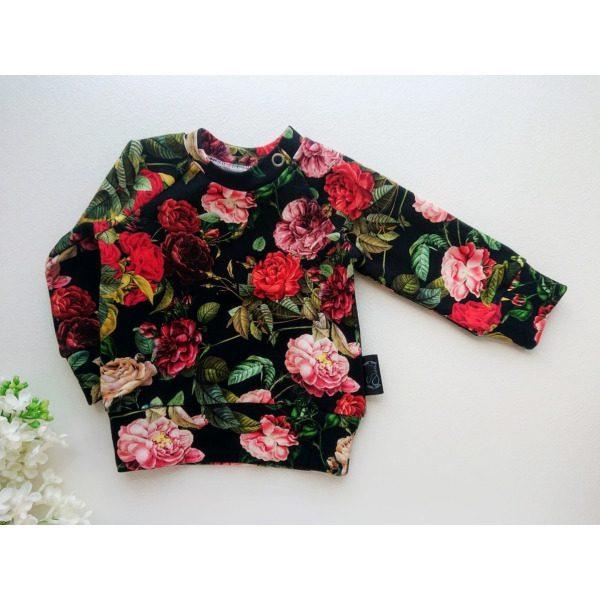 beebi dressiluus tüdrukutele punaste roosdiega blossom kangast