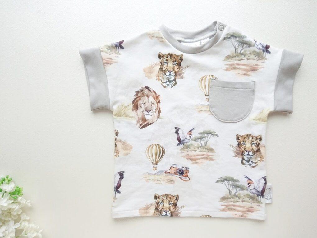 Hall ja beež valge poiste lõvidega T-särk pluus beebipluus