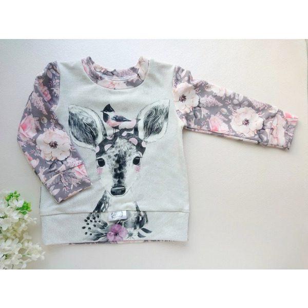 Tüdrukute pildiga lastepusa dressipluus beebipusa kitsega ja hallide roosade roosidega