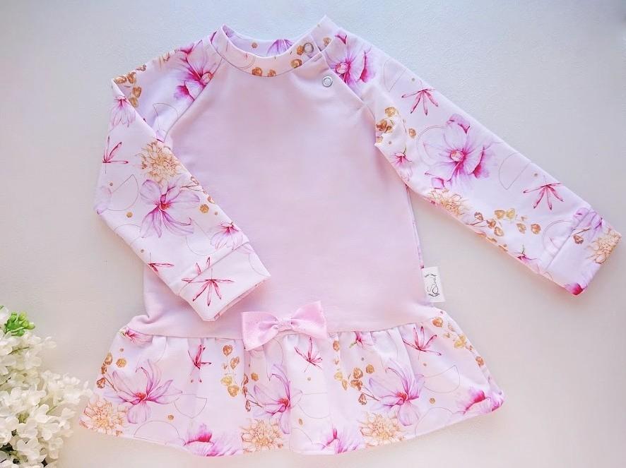 Tüdrukute roosa satsituunika, beebituunika, tüdrukute satsiga tuunika