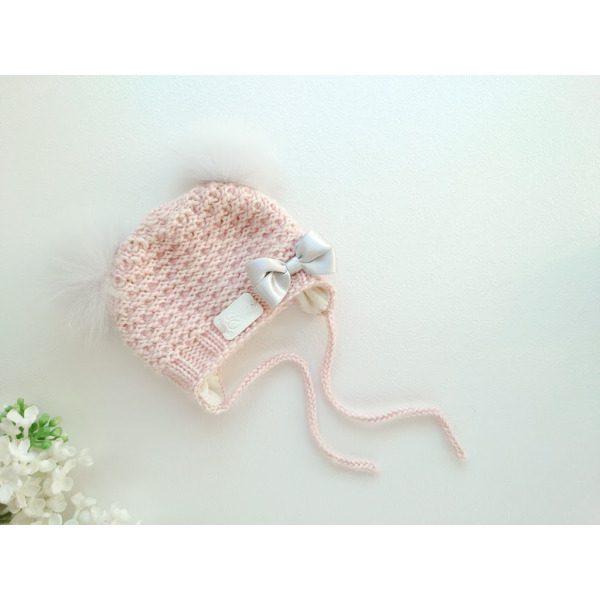 Heleroosa kootud talvemüts tüdrukutele beebimüts talveks meriinovillane talvemüts tuttidega kahe tutiga käsitöömüts
