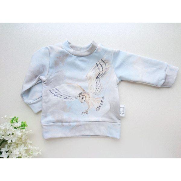 Helesinine ja hall poiste beebipusa dressipluus öökulli pildiga katsikukingitus käsitööriided beebidele ja väikelastele