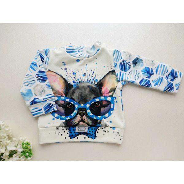Poiste beebipusa sinine ja valge koera pildiga katsikukingitus käsitööna valminud riided lastele, beebidressid
