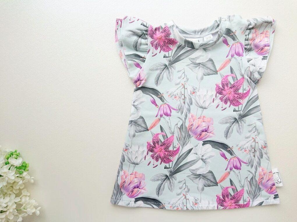 Lilleline tüdrukute kleit satsivarrukatega beebikleit vanaroheline ja lilla