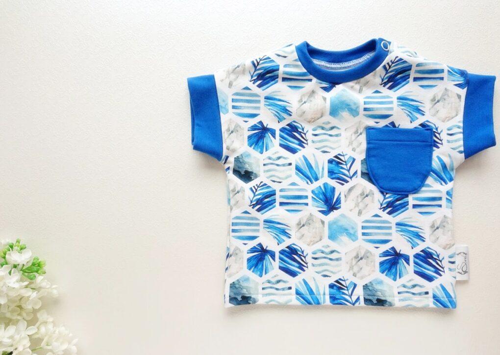 Poiste pluus T-särk suveks sinine ja valge