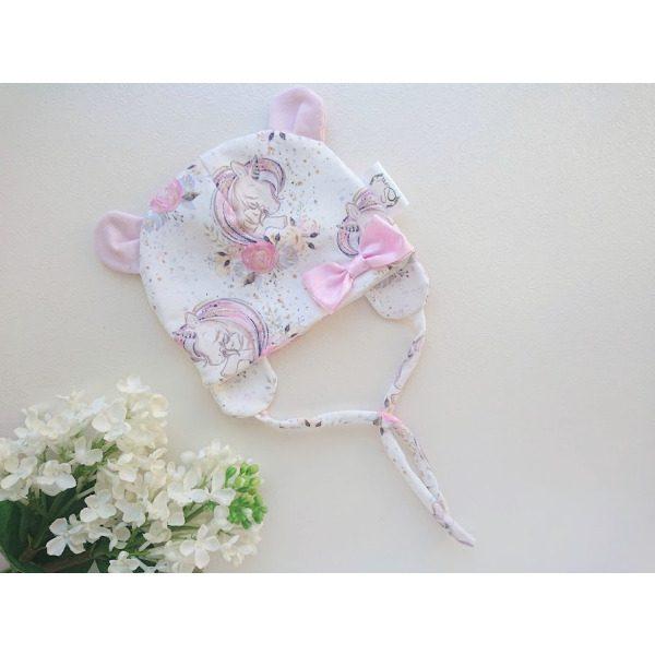 Tüdrukte valge ja roosa kevadmüts sügismüts
