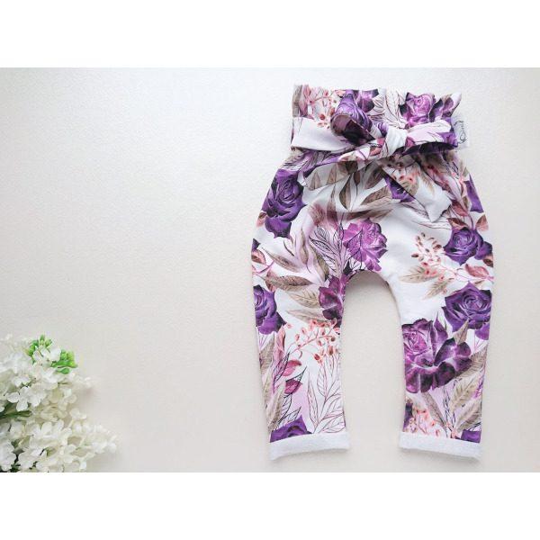 kõrge pihaosaga lillad tüdrukute püksid lillelised roosidega beebipüksid