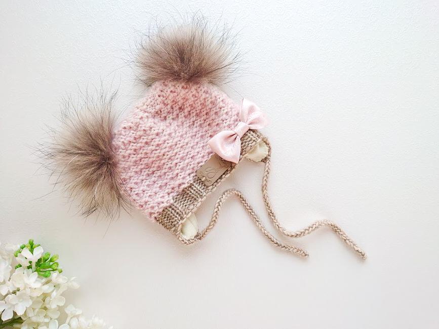 Lõheroosa virsikuroosa ja beež kootu talvemüts tüdrukutele beežide tuttide ja lipsuga käsitöömüts beebile beebimüts talveks