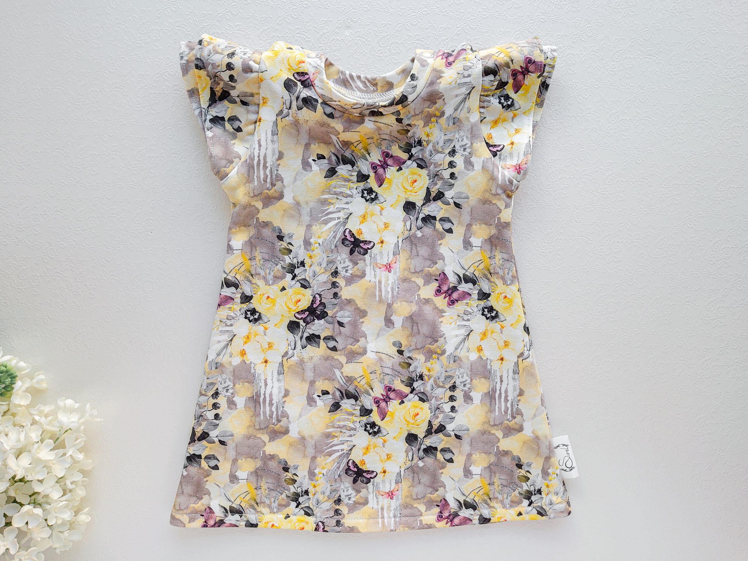 Tüdrukute kollane lilledega lilleline kleit