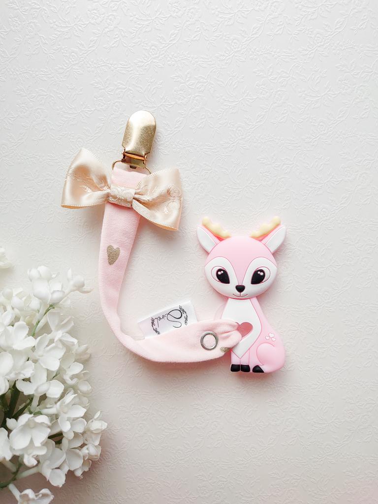 Tüdrukute lutihoidja lutikett kuldse pandla ja lipsuga ning närimisleluga ärimisloomaga kitsega roosa