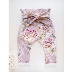 Tüdrukute kõrge pihaosaga püksid, eest seotavad püksid suveks vanalilla, lillelised, hall