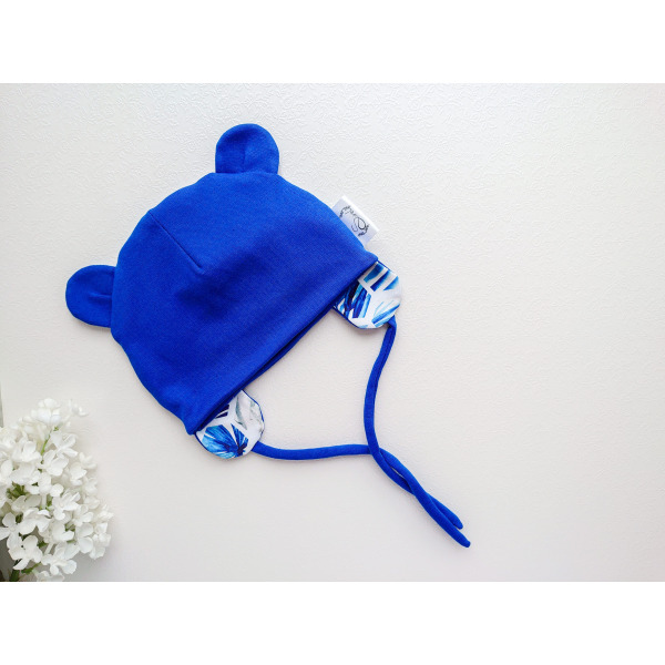 Poiste sinine kevad-, sügismüts soonikkangast
