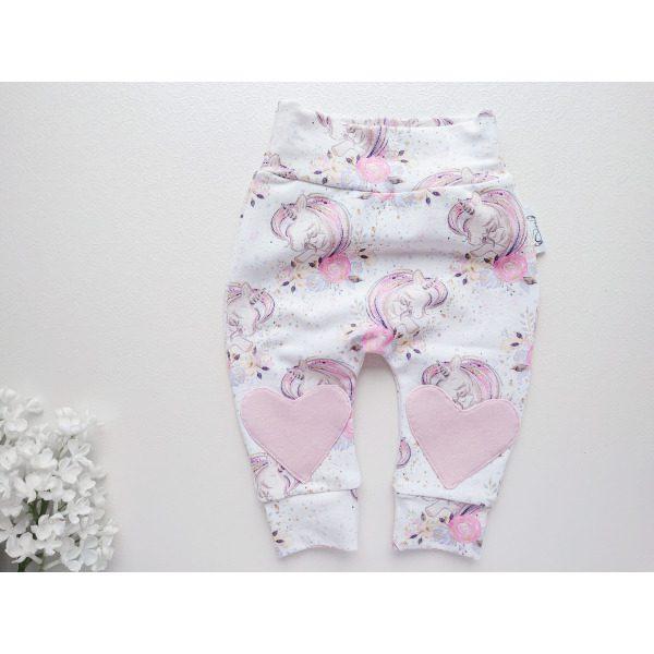 Roosad ja valged südametega tõdrukute beebipüksid, püksid beebile tüdrukule