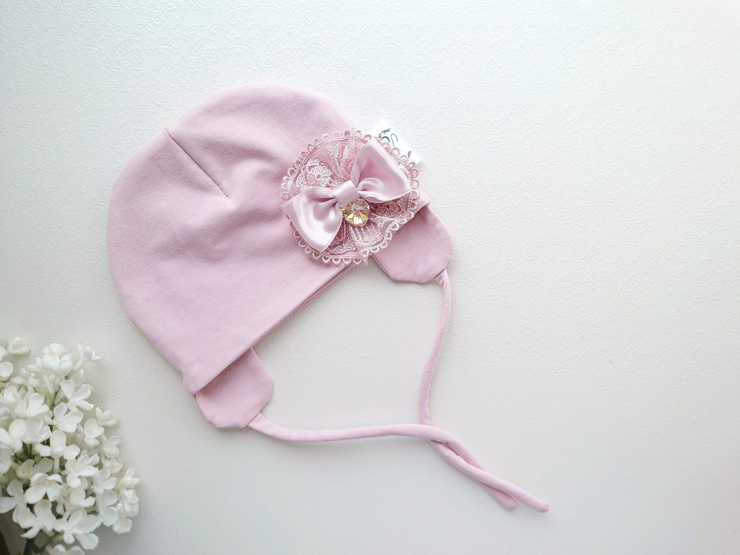 Luksuslik tüdrukute vanaroosa kevadmüts / sügismüts pitsi ja Swarovski kristalliga