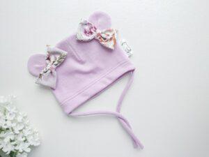 Tüdrukute suvemüts kõrvade ja lipsudega vanalilla, lilleline