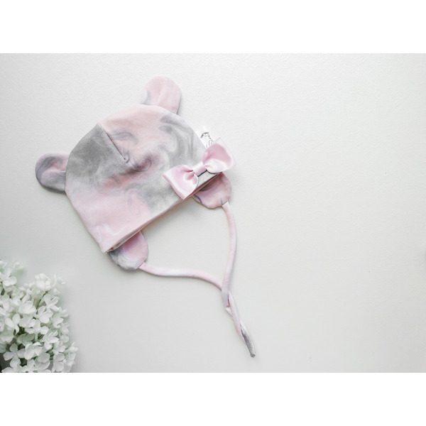Tüdrukute hall ja vanaroosa kevadmüts sügismüts beebimüts sügiseks ja kevadeks pisikese lipsuga ja kõrvadega käsitöömüts beebile