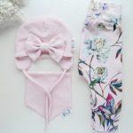 Tütdrukute roosa suure lipsuga kevadmüts sügismüts beebimüts kevadeks ja sügiseks puuvillane käsitöömüts
