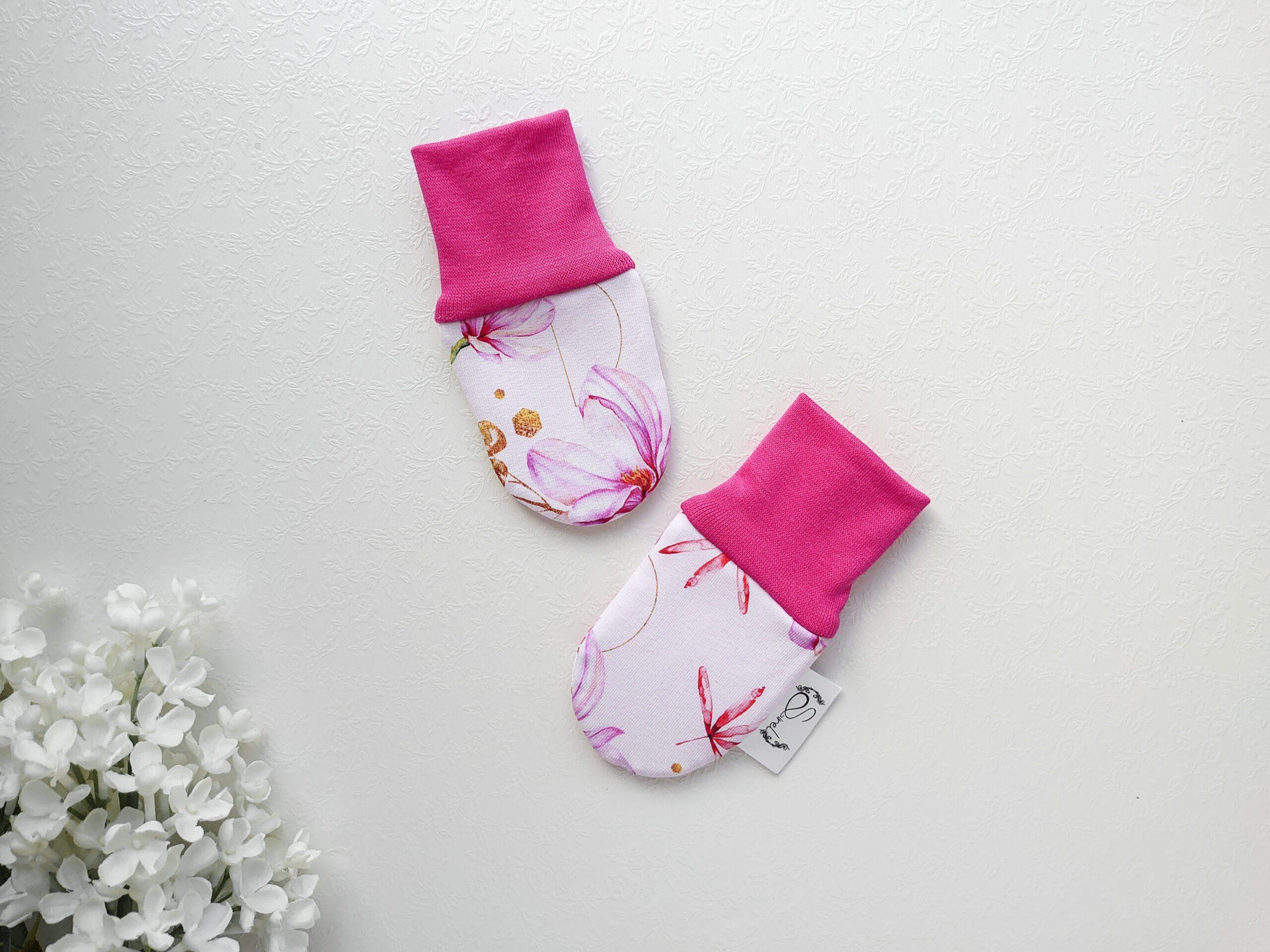 Fuksiaroosa-ja-roosa-tüdrukute-beebikindad-puuvillased-kahekordsed-kevadkindad-sügiskindad-beebitüdrukule